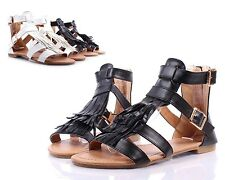 Black Buckle Faux Leather Ruffle Design Zip Women Sandals Gladiator Size 6