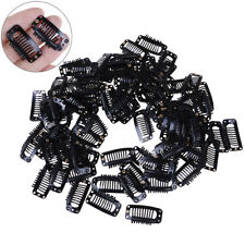 10Pcs Toupee Wig Clips Snap Clips W/ Rubber Back Hair Extension Black 9 Teeth BB