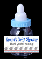 8X Fillable Baby Bottle Blue LABELS ONLY Baby Shower Baptism Party Stickers