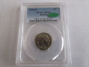 1938-D , Buffalo Nickel , PCGS MS66 , CAC