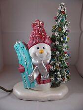 Brand New Ceramic Xmas Christmas Tree Snowman Figurine LED Table Lamp Decoration