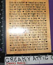 BABY SCRIPT WORDS SAYINGS RUBBER STAMP DARCIES COUNTRY FOLK