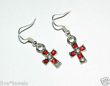 Cross Earrings, Red & White Crystal Fashion Jewelry Item