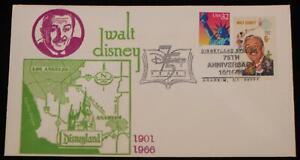 Walt Disney 1968 6 cent Stamp 75th Anniversary Disneyland Station 1998  Postmark