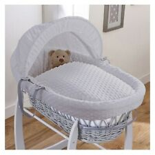 CLAIR DE LUNE WHITE WICKER MOSES BASKET DIMPLE GREY FABRIC NEW