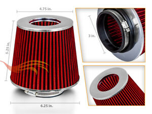 "3"" Short Ram Cold Air Intake Filter Round/Cone Universal RED For Jeep 3"