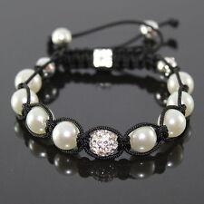 Damen Kristall weiß Perlen Shamballa Armband verstellbar für Frauen