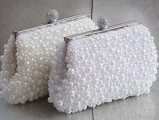 Pearl Bead Beaded Diamante Bridal Wedding Prom Purse Clutch Handbag Bag 296
