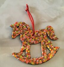 """Rocking Horse Painted Leather Christmas Holiday Ornament w/ Cord (3 x 3 1/2"""")"""