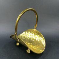 Vintage Hammered Brass Mini Firewood Basket Flower Holder Claw Feet Handle India