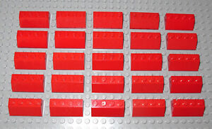 Vintage Lego Brick Slope 45 2x4 - Red - part.no 3037 - Used - 25 pcs