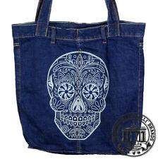 S17. Sugar Skull Teschio Jeans Denim Shopping Bag Borsa marionelli