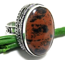 55cts Lovely Ring Mahogany Obsidian Gemstone 925 Sterling Silver Plated Size 9.5