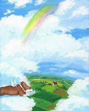 Original Painting Ryta Pembroke Welsh Corgi Rainbow Bridge Gift Sympathy Dog Hp