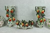 Antique art nouveau marked porcelain pear fruits relief vases mantel set
