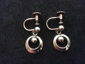 Vintage Scandanavian Silver Modernist Earrings -Screw Back Fastening