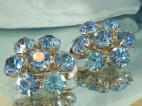 WOWZA Sparkle Ice Blue Rhinestone Flower Clip On Earrings Vintage 1950's 165a7