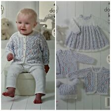 Baby KNITTING PATTERN Baby Smock Dress Top Cardigan Hat CherishDK King Cole 4896