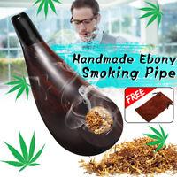 Neu Pfeife Holzpfeife Ebenholz High-ended Smoking Pipe mit Tasche Geschenk ! !