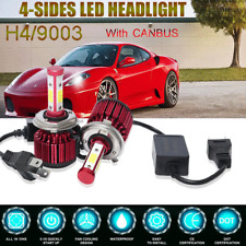 H4 9003 4-Side+CANBUS EMC LED Headlight Kit 200W High-Low Beam Bulb 6000K White