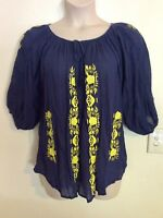 NAUDIC brand NAVY & YELLOW EMBROIDERED size S/M cool comfortable cotton