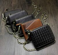 Mens Zip Biker Genuine Leather Wallet Clutch Purse with Chain 5 Style