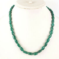 18 Inch Natural Emerald Necklace Tumble Beads Single Strand 925 Silver Clasp