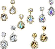Sparkly teardrop earrings long diamante rhinestone jewellery proms brides 0268