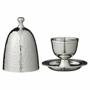 Culinary Concepts Silver Plated Breakfast Set Boiled Egg Cup Holder & Cover