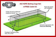 12' x 14' x 35' #42 (#60ply) Baseball Softball Batting Cage Nets Free Cable Kit