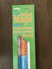 "Laminated Map Set of 3  World   North America   United States  50"" x 31"" and 37"""