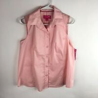 Liz Lange Maternity Small Button Down Shirt Tank Sleeveless Pink Pregnancy NEW