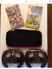 Nintendo Switch Games (Mario Kart 8 Deluxe2 wheels & Switch Case & Mario Rabbids