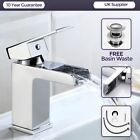 OZONE WATERFALL CLOAKROOM BASIN SINK TAP SQUARE MONO MIXER CHROME *FREE WASTE*
