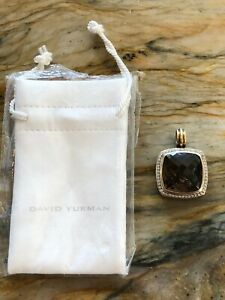 DAVID YURMAN  20MM SMOKEY QUARTZ DIAMOND ENHANCER  PENDANT  STERLING SILVER 18K