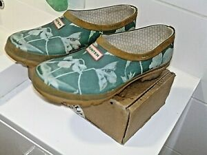 HUNTER Green rubber CLOGS Gardening .Floral pattern ASZ UK 6 In Good condition
