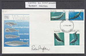 1982  WHALES FDC SIGNED BY THE DESIGNER  ROBERT INGPEN