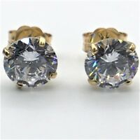 5.00 Ct Diamond Solid 14K Yellow Gold Basket Round Solitaire Studs Earrings