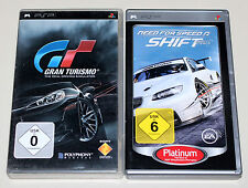 2 PSP juegos set-Need for Speed Shift & gran turismo 5-completo con manual