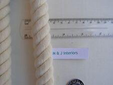 2 Natural cotton rope curtain tie backs cord ties cable tiebacks Jones Interiors