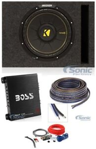 "Kicker 12"" Car Subwoofer+Single Vented Sub Box+Amplifier+Amp Kit+Speaker Wire"