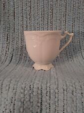 """VIKTORIA HUTSCHENREUTHER FOOTED COFFEE CUP GERMANY WHITE EMBOSSED SCALLOPED 3"""""""