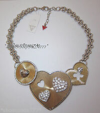 $155 GUESS Exclusive Spirograph Drama Heart Pendant Necklace Rhinestones Silver