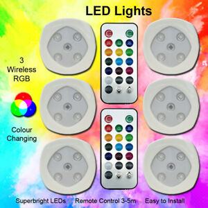 RGB Color Changing LED Lights Home Wireless Remote Control Spotlights Set of 3/6