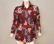 Vintage 70's Women's Shirt Disco Psychedelic Red White Blue Dot Geometric M L