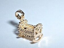 14k YELLOW GOLD 3D BABY ROCKING CRADLE CHARM