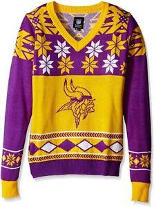 NFL Women's V-Neck Sweater Women's Medium Minnesota Vikings