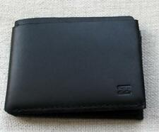 BILLABONG Mens Logo All Black Rawhide Leather Wallet Bi-Fold Fat Card Wallet NEW