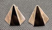 "Vintage Sterling Silver 925 Black Onyx Pierced Earrings 1"" 5.8g"