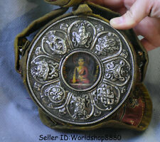 """5"""" Rare Old Tibet Buddhism Silver Shakyamuni Amitabha Buddha Ghau Shrine Box"""